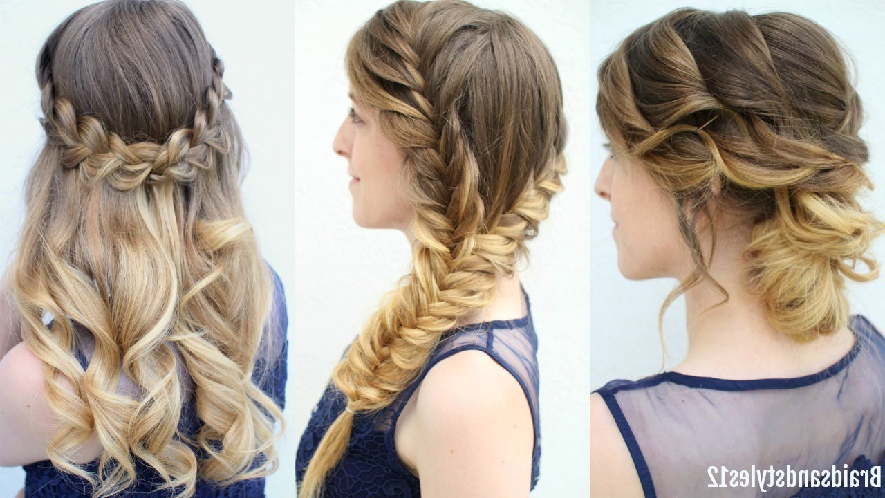 Formal Hairstyes Intended For Famous Diagonal Waterfall Braid In Half Up Bridal Hairstyles (View 4 of 20)