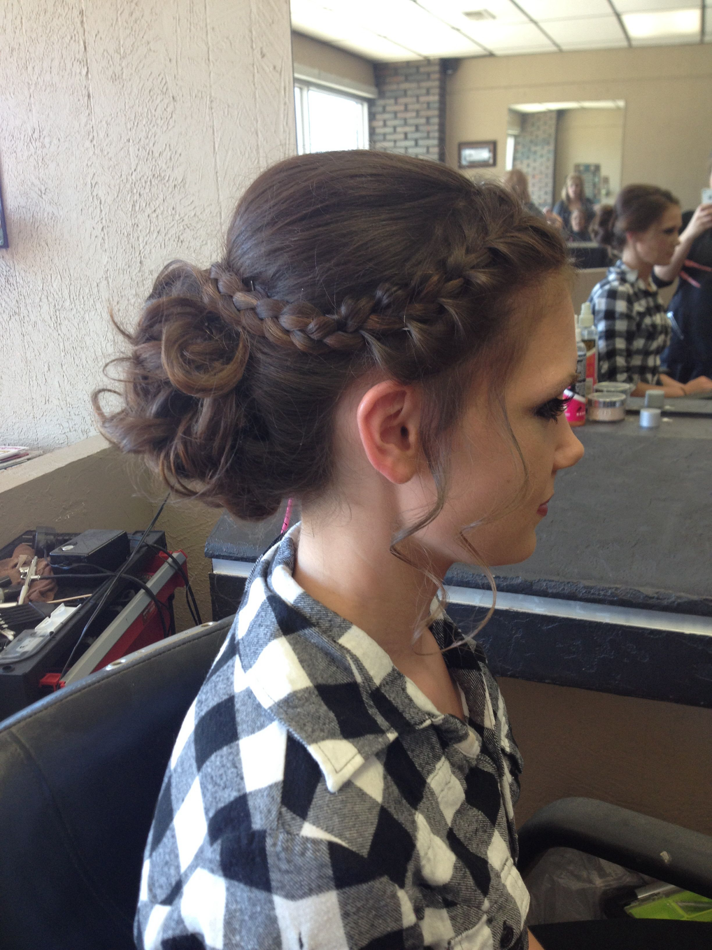 Formal Updo For Prom This Year. Curled Bun With French Braid (Gallery 18 of 20)