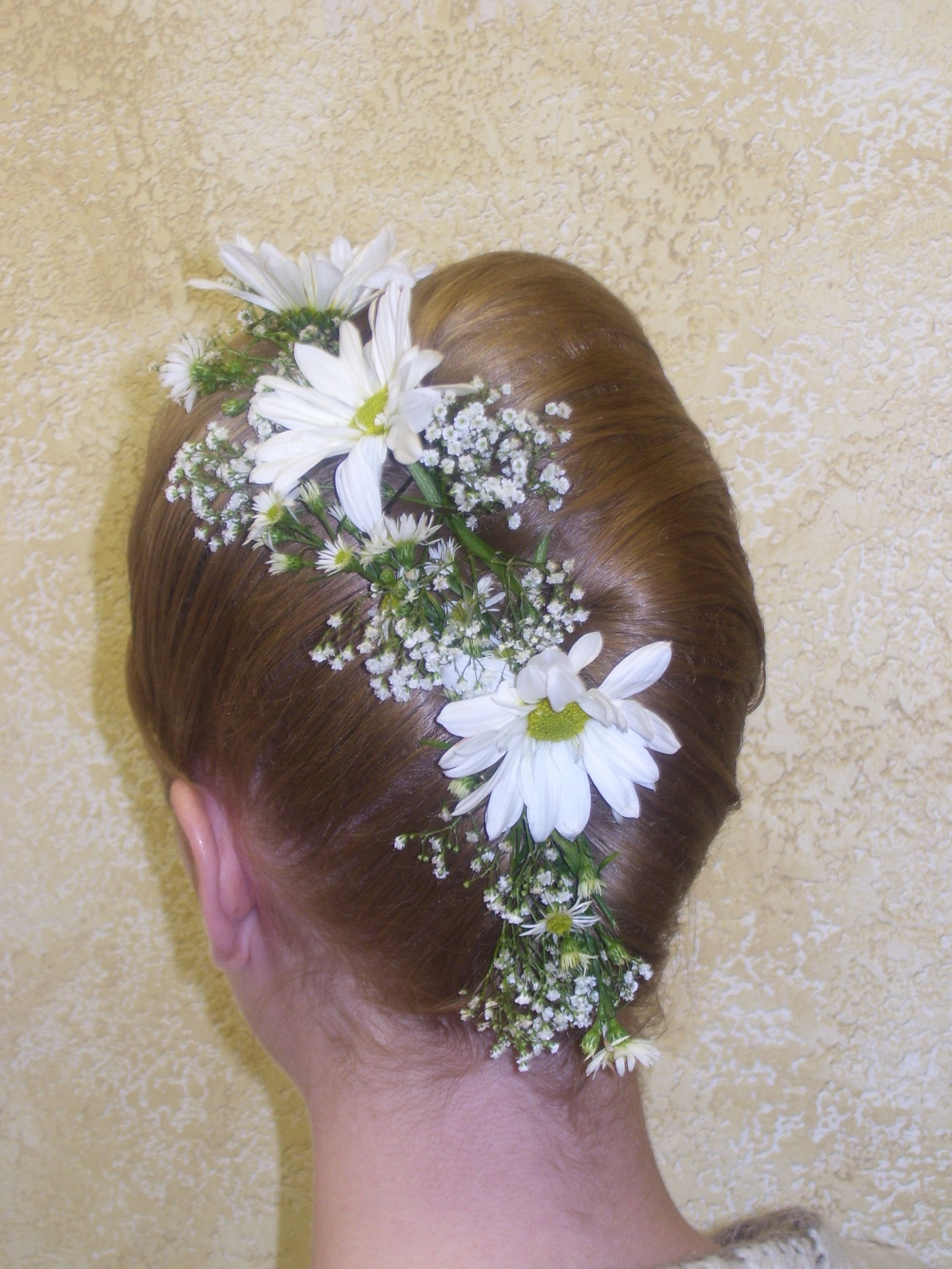 French Twist Accents With Babys Breath And Daisys #flowers With Regard To Preferred French Twist Wedding Updos With Babys Breath (Gallery 11 of 20)