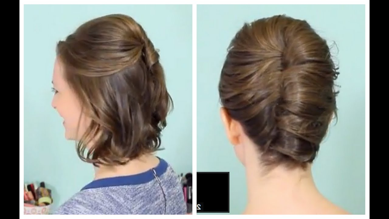 French Twist & Half Updo For Short Hair! – Youtube Within Favorite Sleek French Knot Hairstyles With Curls (Gallery 10 of 20)