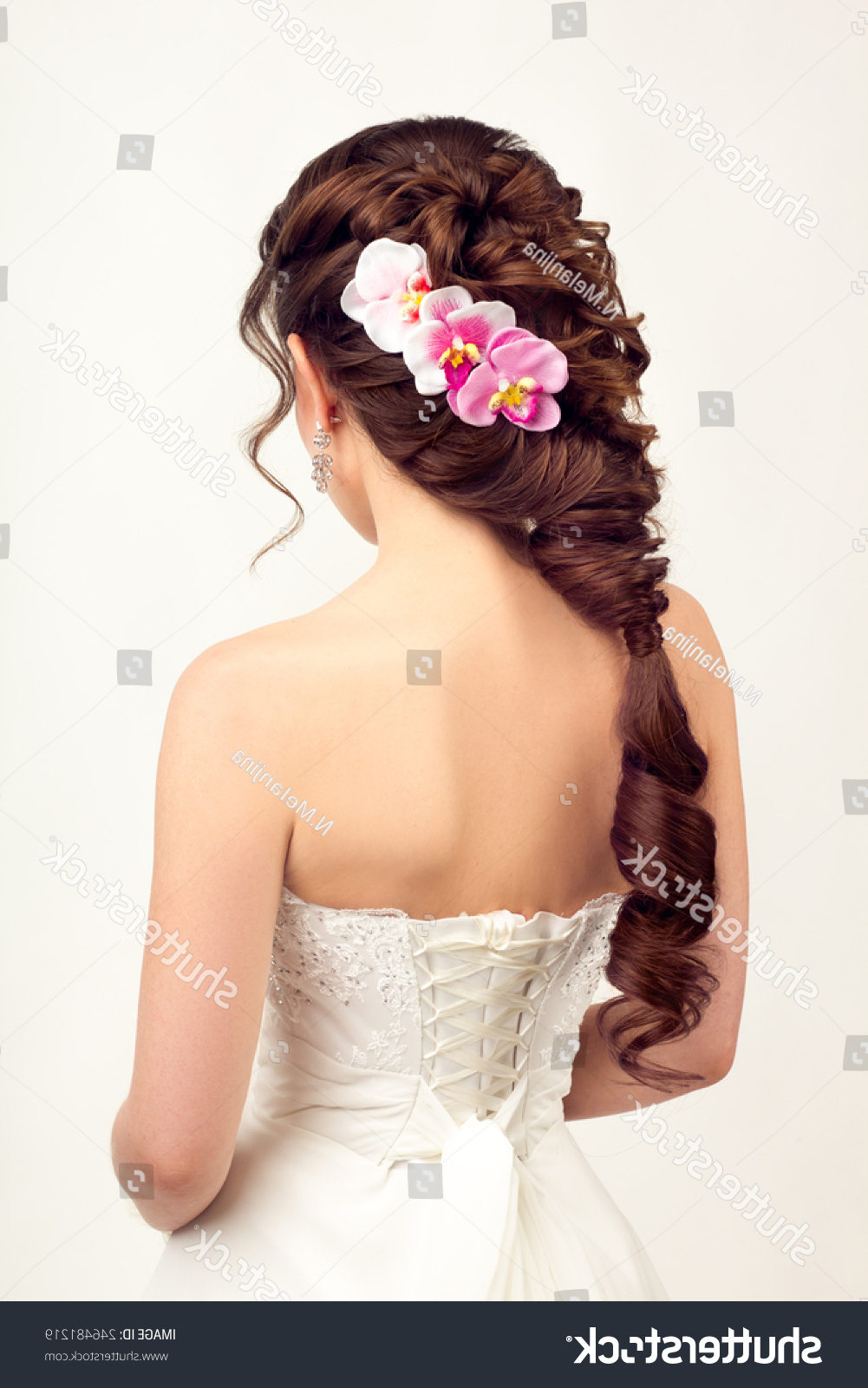 Girl Wedding Hairstyle Braid Purple Orchid Stock Photo (Edit Now Within Recent Curly Wedding Hairstyles With An Orchid (View 6 of 20)