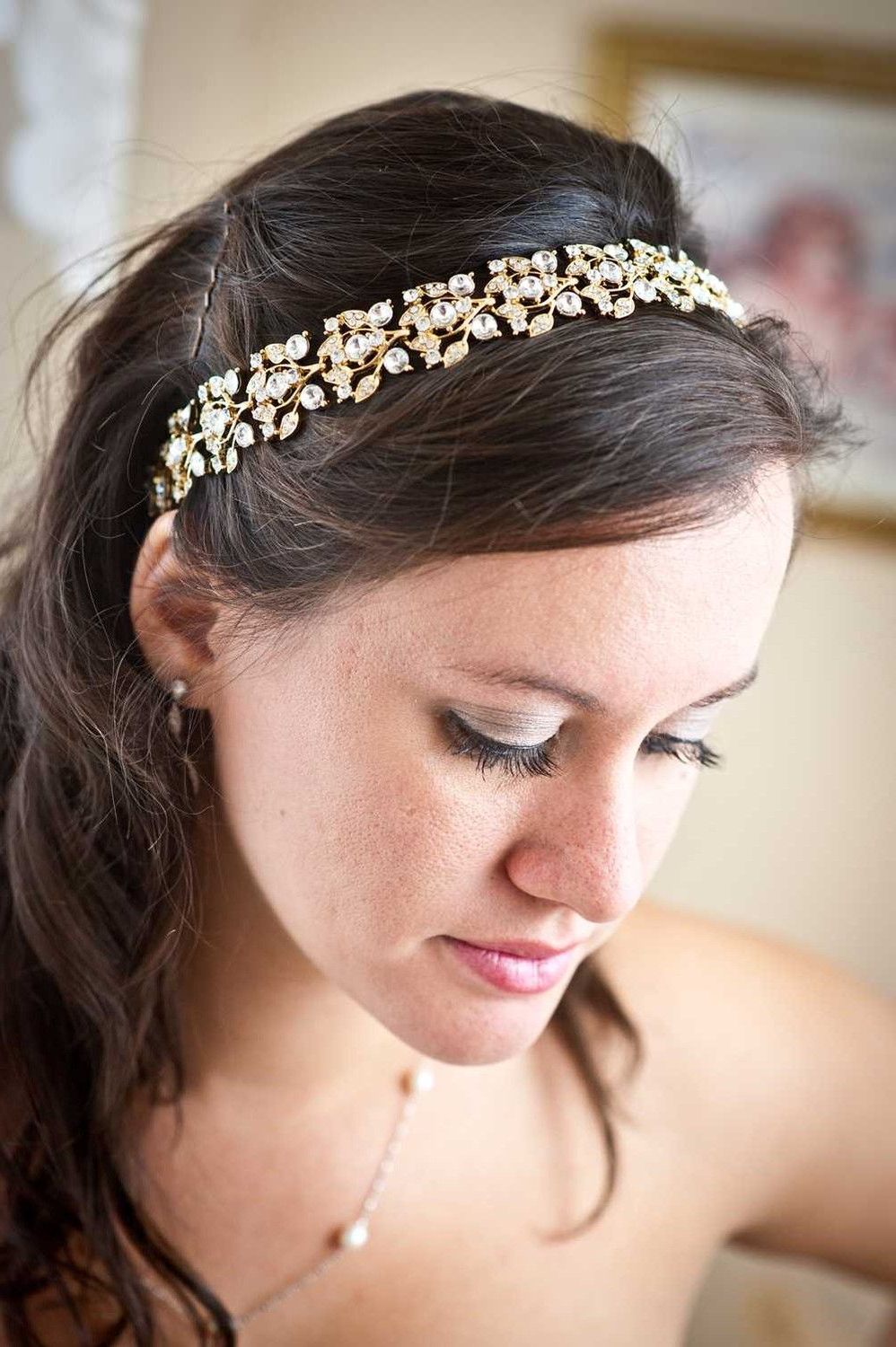 Gold Crystal Headband – Gold Tiara – Bridal Headpiece – Bridal For Best And Newest High Updos With Jeweled Headband For Brides (Gallery 8 of 20)