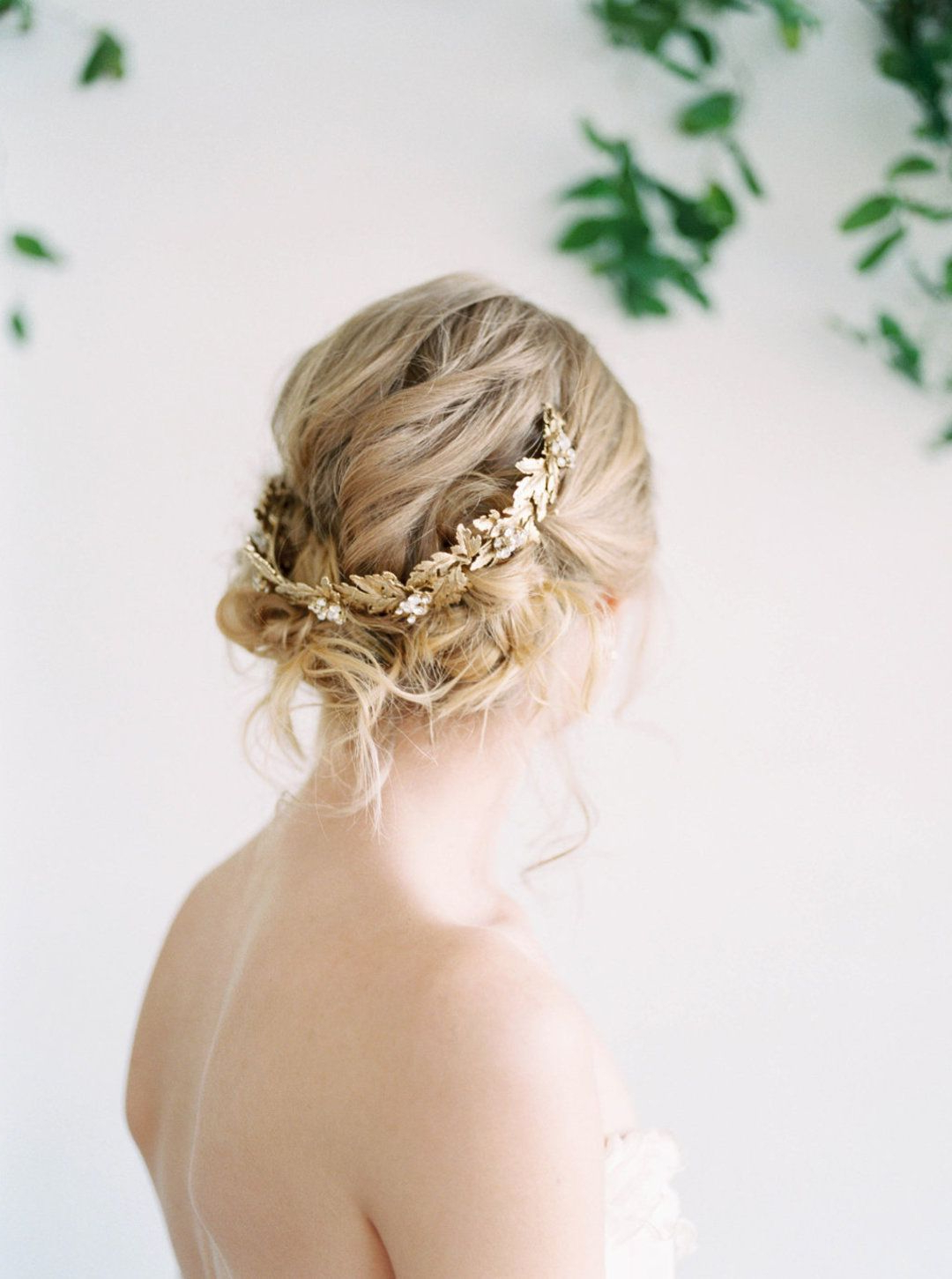 Gold Hair Accessories, Romantic With Regard To Preferred Curled Bridal Hairstyles With Tendrils (View 2 of 20)