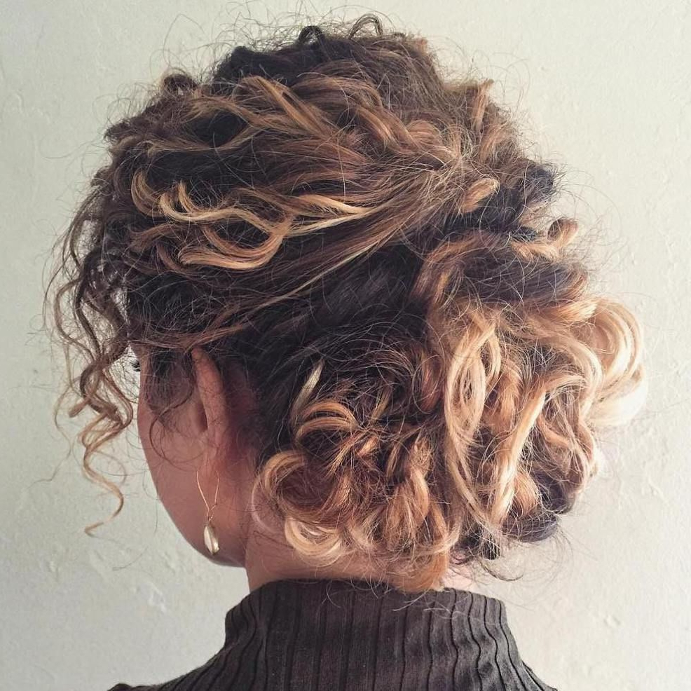 Hair In Latest Curly Bun Bridal Updos For Shorter Hair (View 7 of 20)