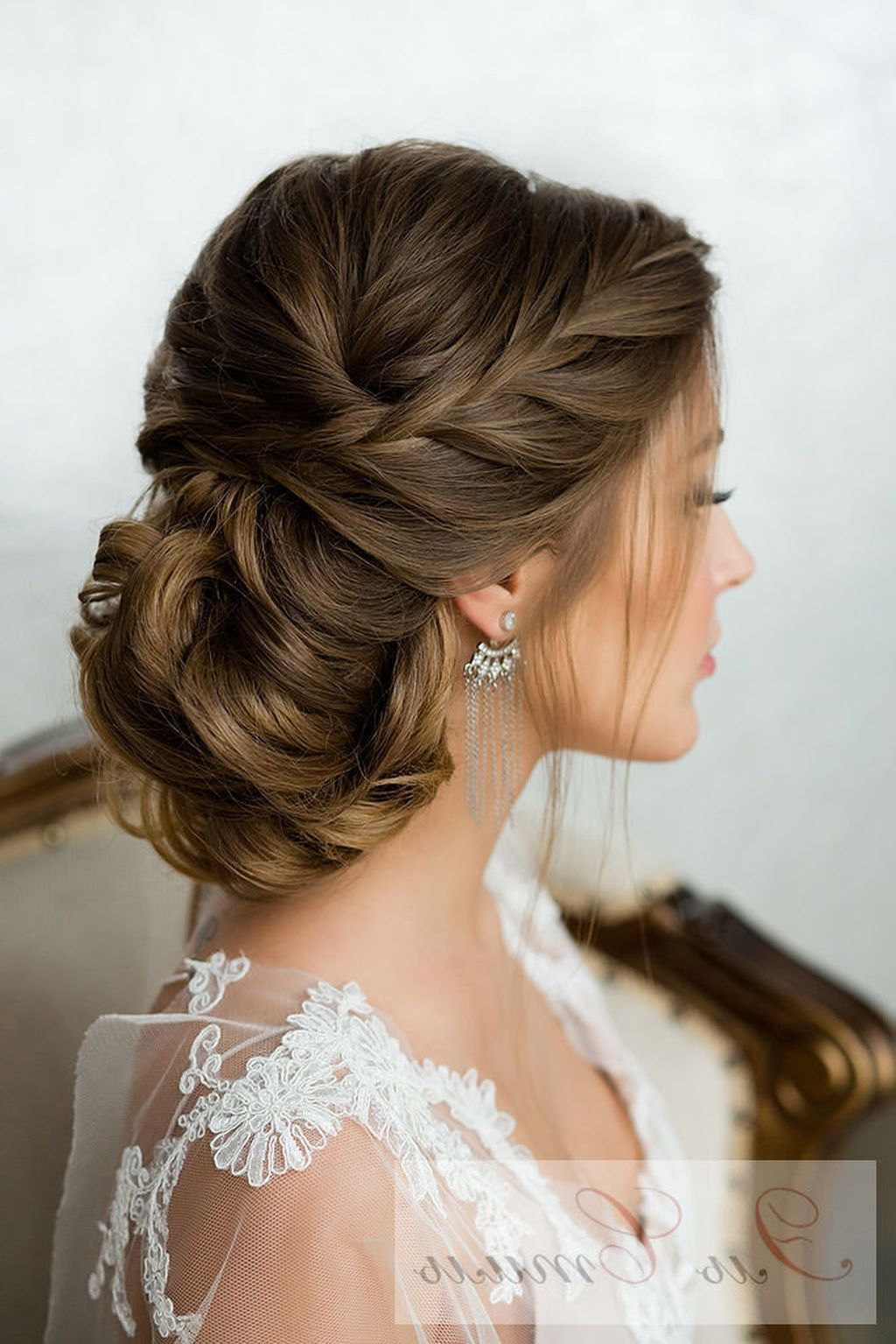 Hair In Most Popular Embellished Twisted Bun For Brides (View 12 of 20)