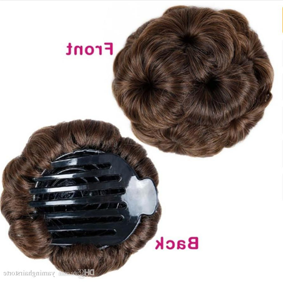 Hair Women Chignon Hair Bun Donut Clip In Hairpiece Extensions Black Pertaining To Well Liked Large Bun Wedding Hairstyles With Messy Curls (View 12 of 20)