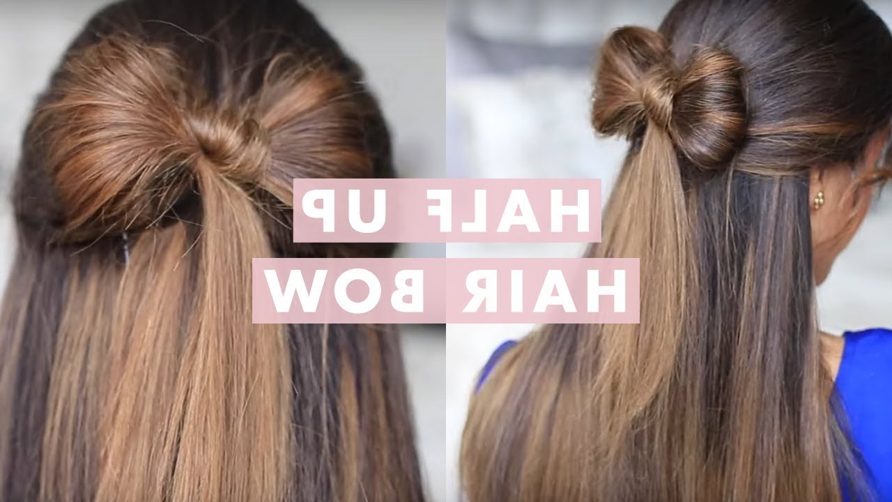 Half Up Hair Bow Cute Hair Tutorial – Youtube Intended For 2018 Diagonal Waterfall Braid In Half Up Bridal Hairstyles (View 7 of 20)