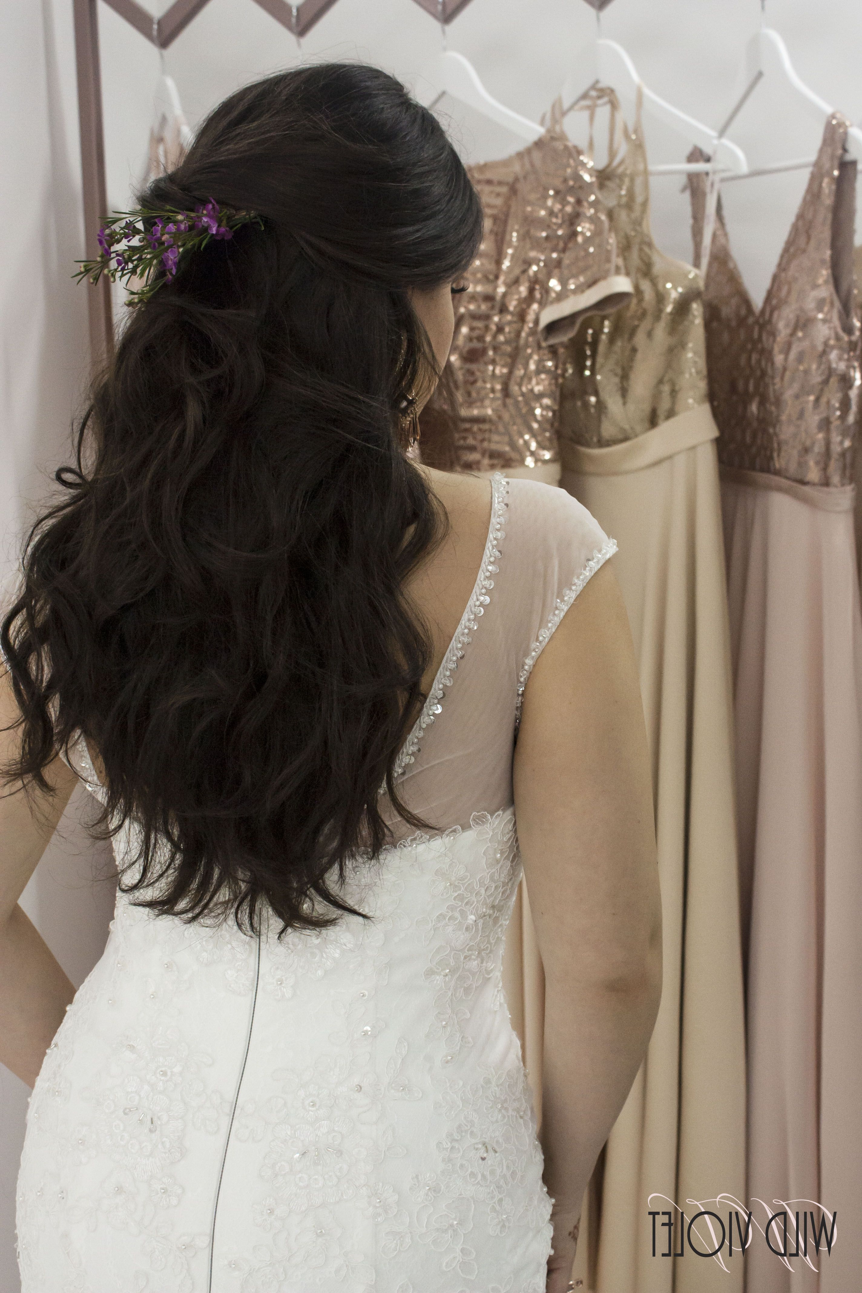 Half Up Half Down Boho Bridal Wedding Hairwild Violet Pertaining To 2017 Wild Waves Bridal Hairstyles (View 10 of 20)