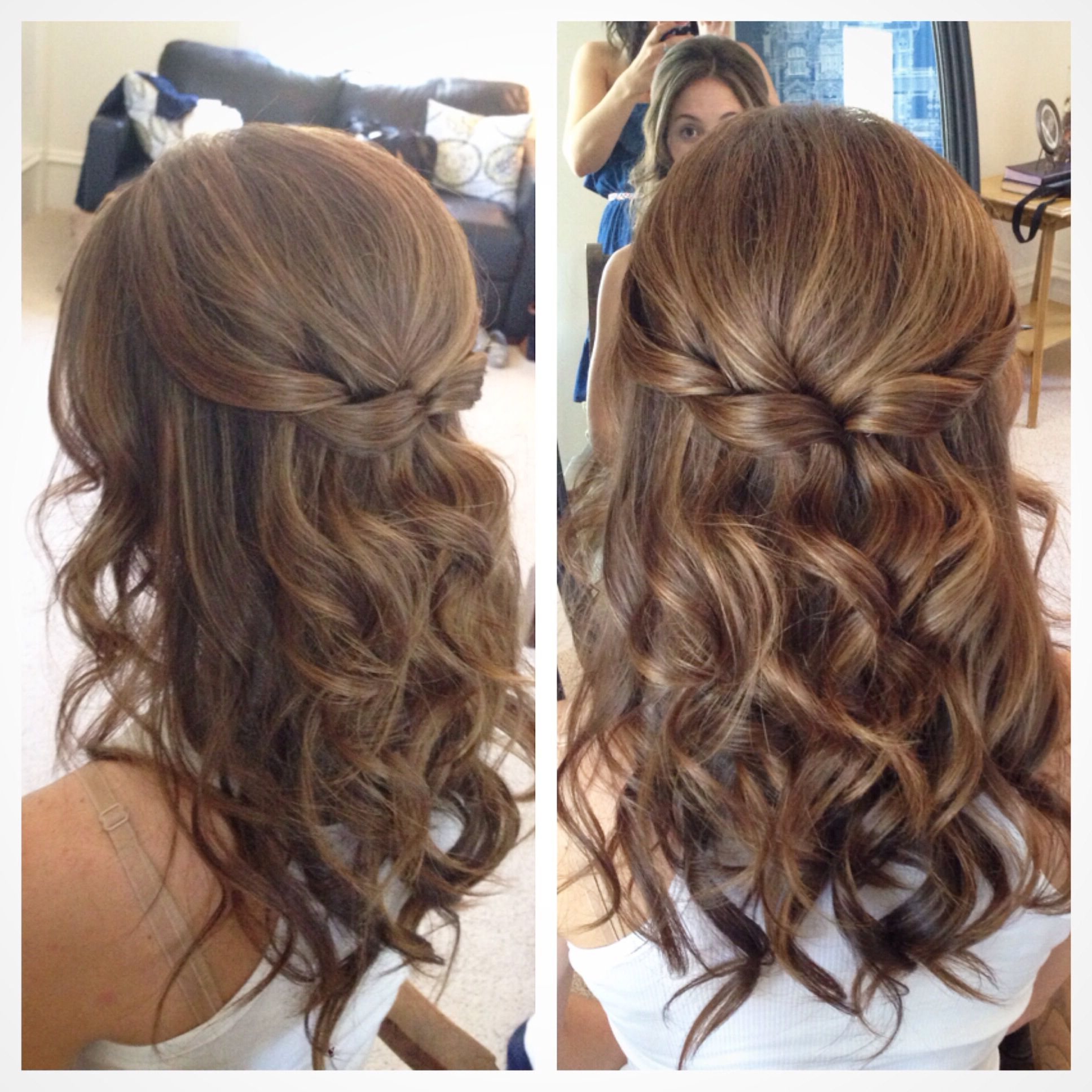 Half Up Half Down Hair, Wedding Hair, Pretty Hair But With Softer For Most Recent Big And Fancy Curls Bridal Hairstyles (Gallery 5 of 20)