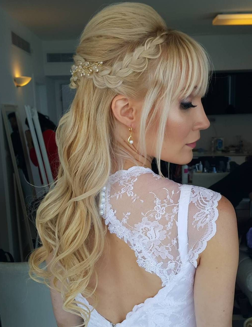 Half Up Updos 35 Pretty Half Updo Wedding Hairstyles – Lahostels With Regard To Well Known Wedding Semi Updo Bridal Hairstyles With Braid (View 17 of 20)
