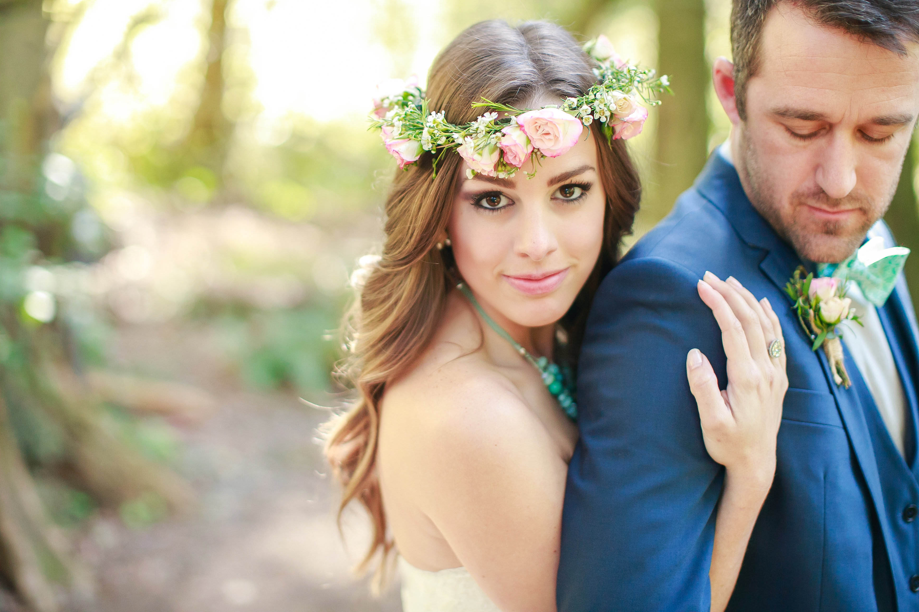 It Doesn't Have To Be A Veil: 7 Beautiful Hair Piece Options For Widely Used Floral Crown Half Up Half Down Bridal Hairstyles (View 12 of 20)