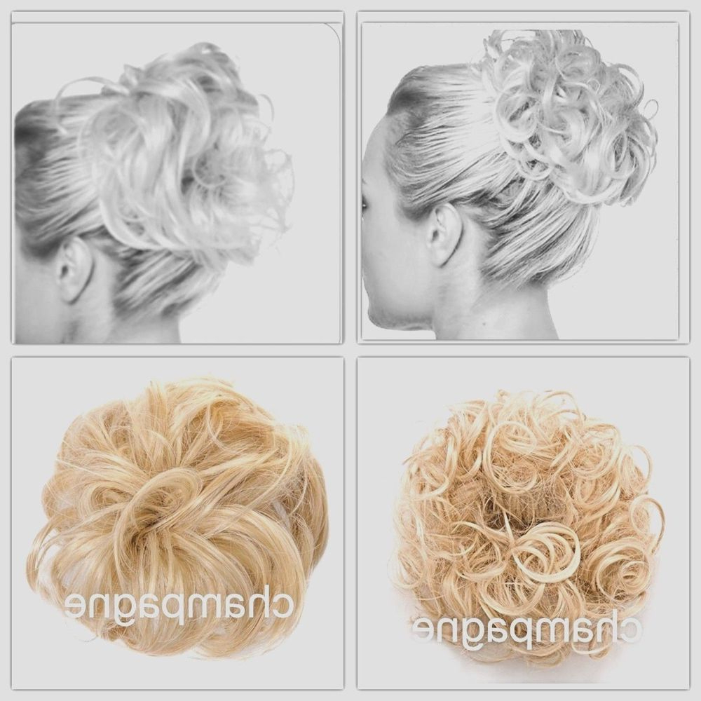 Koko Hair Scrunchie Wrap Champagne Blonde Large Messy Bun Updo Wavy With Regard To Trendy Large Bun Wedding Hairstyles With Messy Curls (View 18 of 20)