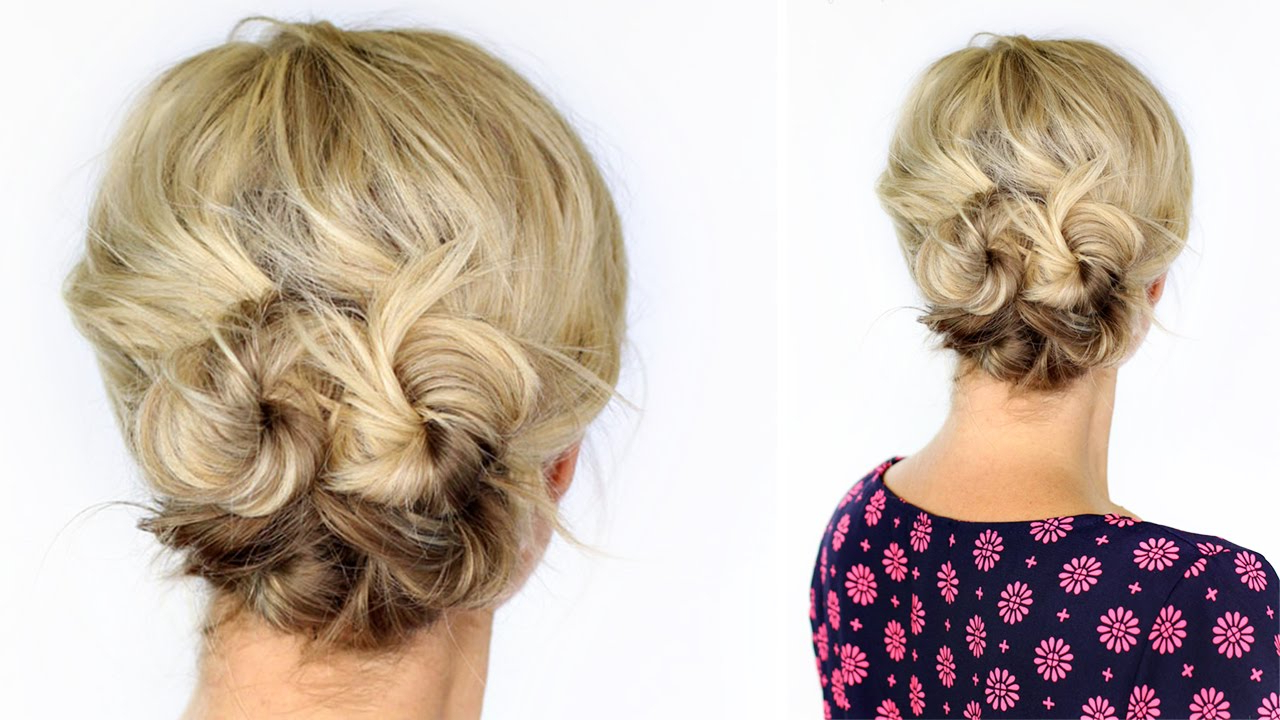 Latest Curly Bun Bridal Updos For Shorter Hair Throughout Knotted Updo For Short Hair – Youtube (View 15 of 20)