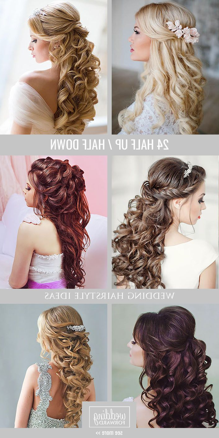 Latest Destructed Messy Curly Bun Hairstyles For Wedding Throughout 42 Half Up Half Down Wedding Hairstyles Ideas (View 11 of 20)