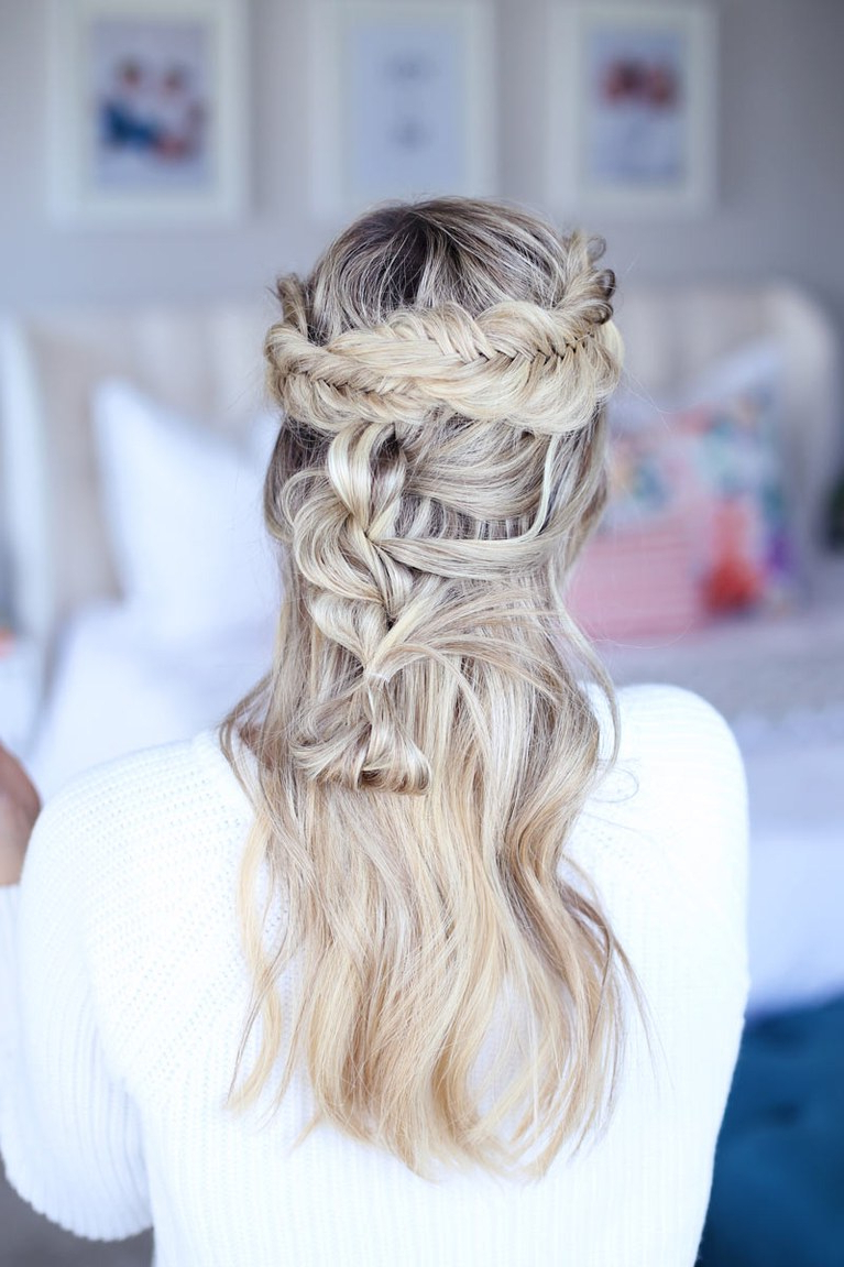 Latest Double Braided Look Wedding Hairstyles For Straightened Hair Throughout 61 Braided Wedding Hairstyles (Gallery 15 of 20)