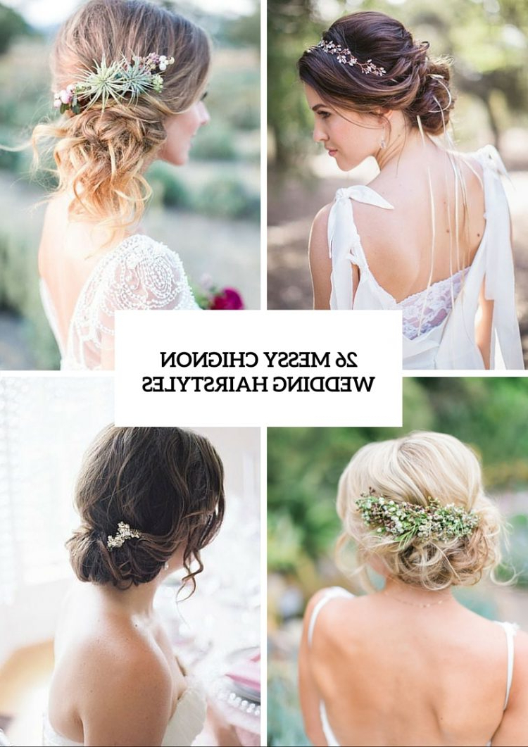 Latest Messy Bridal Updo Bridal Hairstyles Pertaining To 26 Chic Messy Chignon Wedding Hairstyles – Weddingomania (Gallery 11 of 20)