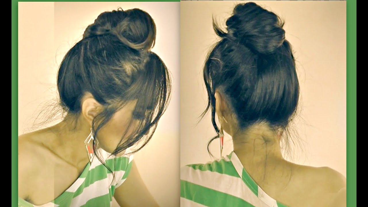 Latest Messy Bun Wedding Hairstyles For Shorter Hair Throughout ☆Cute Mustache Messy Bun Hairstyles For Short Medium Long Hair (View 14 of 20)