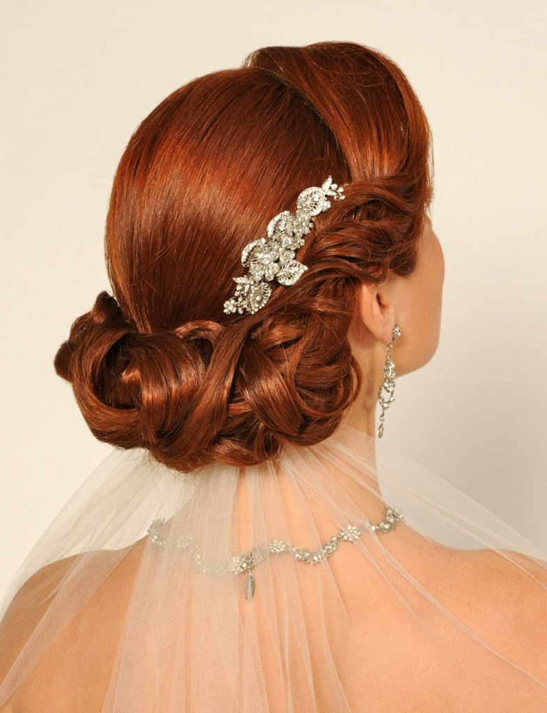 Latest Neat Bridal Hairdos With Headband For Red Hair Updo With Curls, Probably Using The Headband Trick, With An (Gallery 9 of 20)