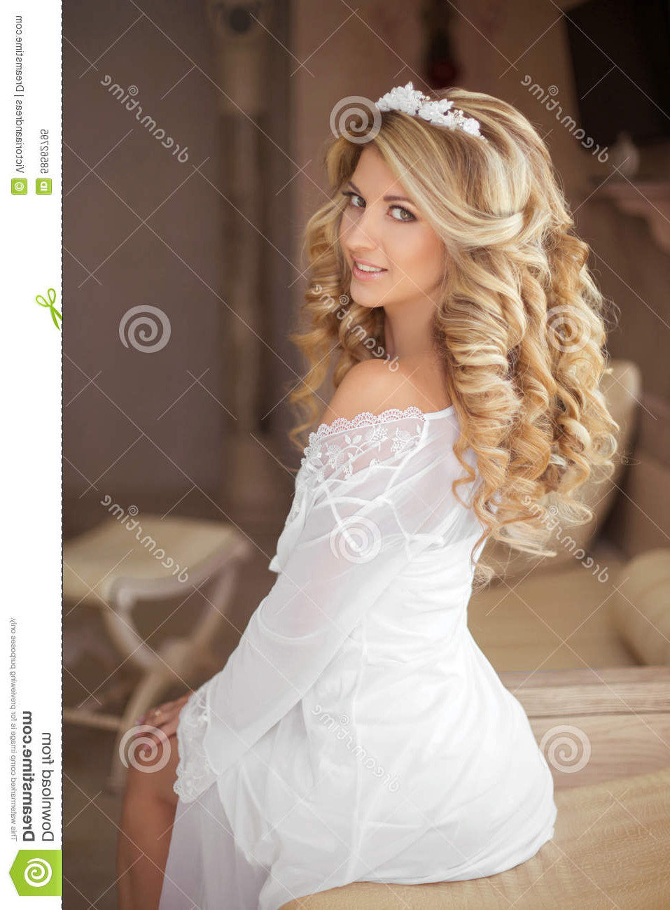 Latest Pile Of Curls Hairstyles For Wedding With Healthy Hair. Beautiful Smiling Girl Bride With Long Blonde Curl (Gallery 16 of 20)