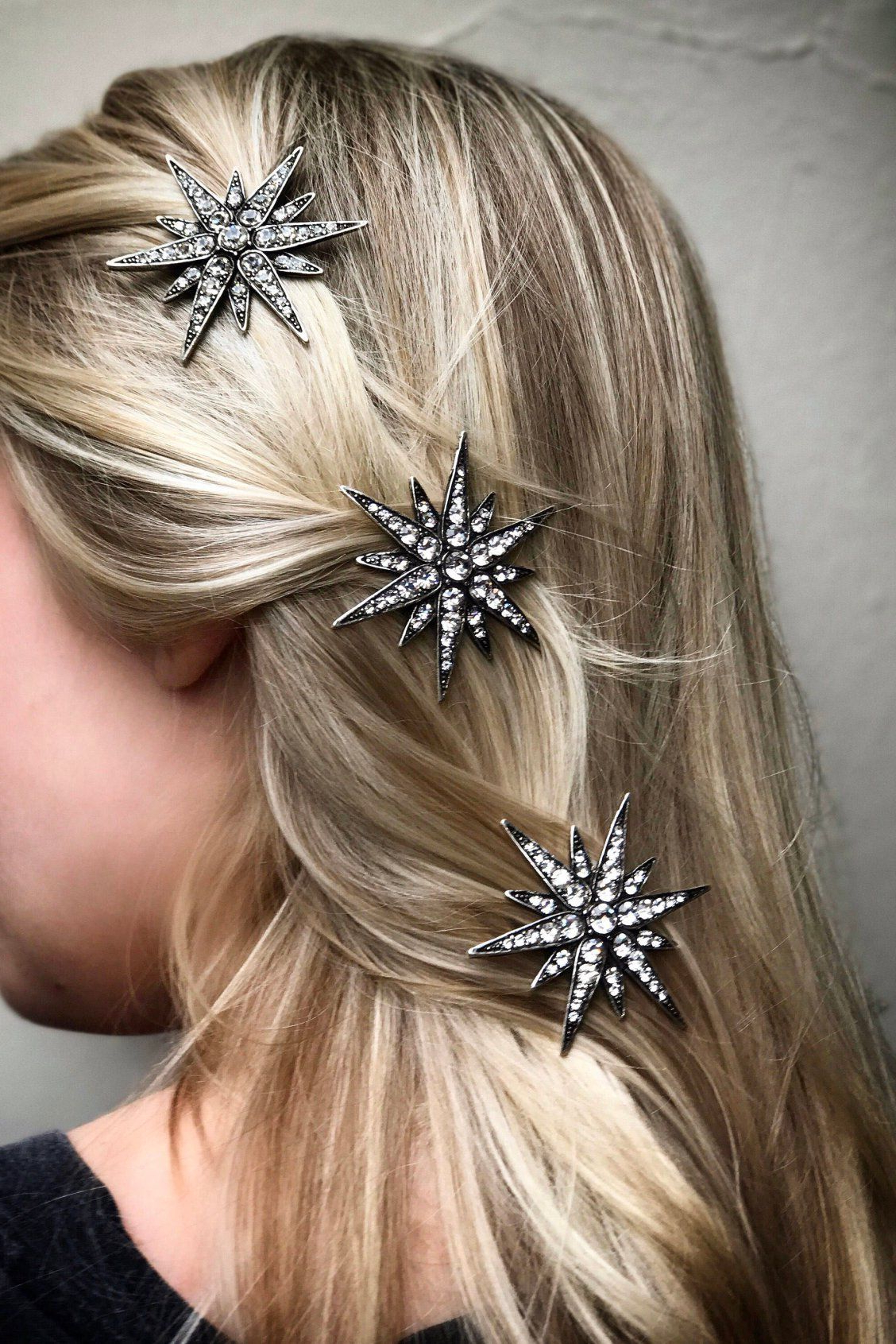 Latest Sleek Bridal Hairstyles With Floral Barrette For Starburst Hair Clip Barrette Star Crystal Rhinestone 'linx' In (View 2 of 20)