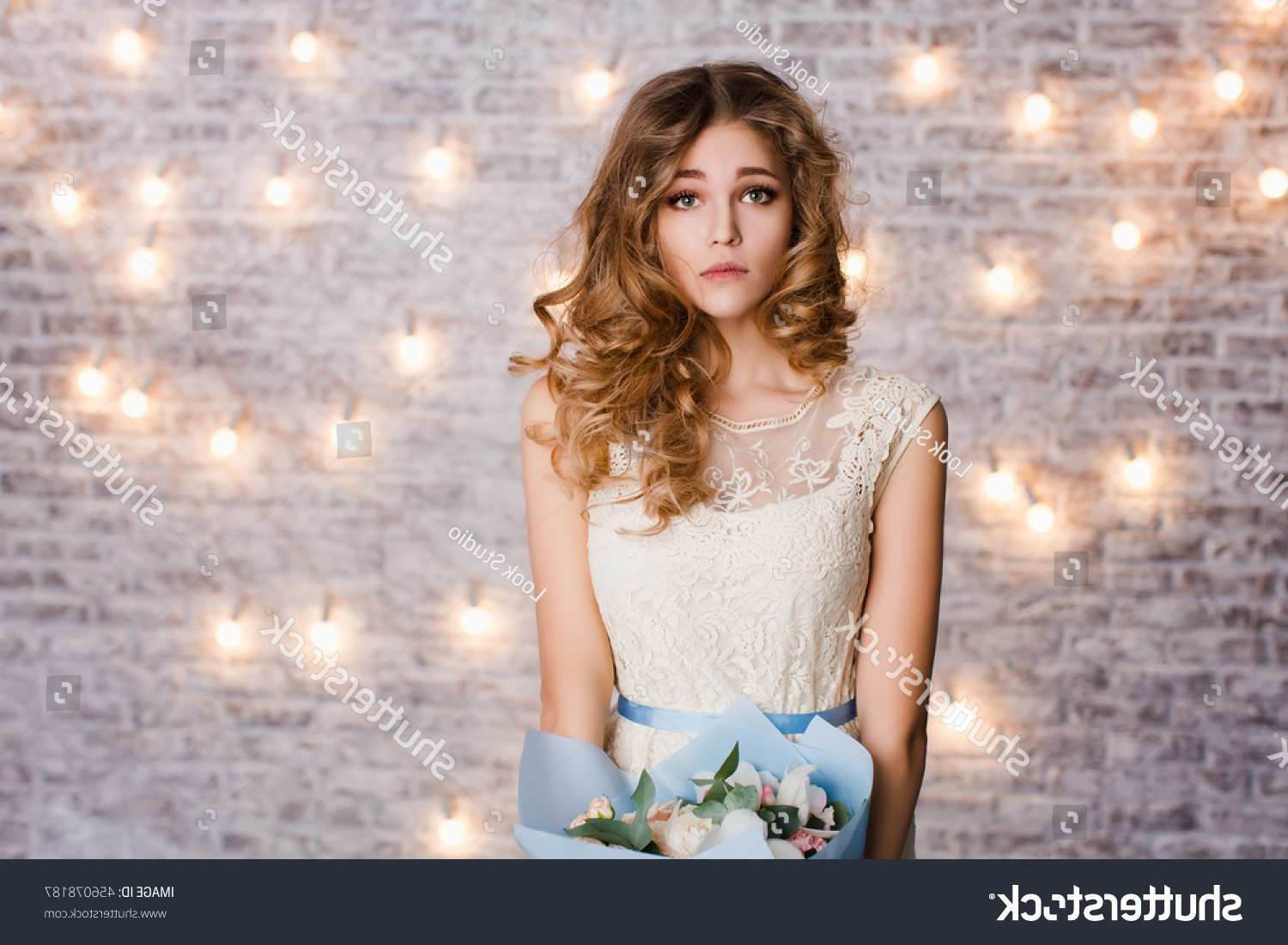 Latest Tender Shapely Curls Hairstyles For A Romantic Wedding Look Within Cute Tender Slim Girl Blond Curly Stock Photo (edit Now) (View 15 of 20)