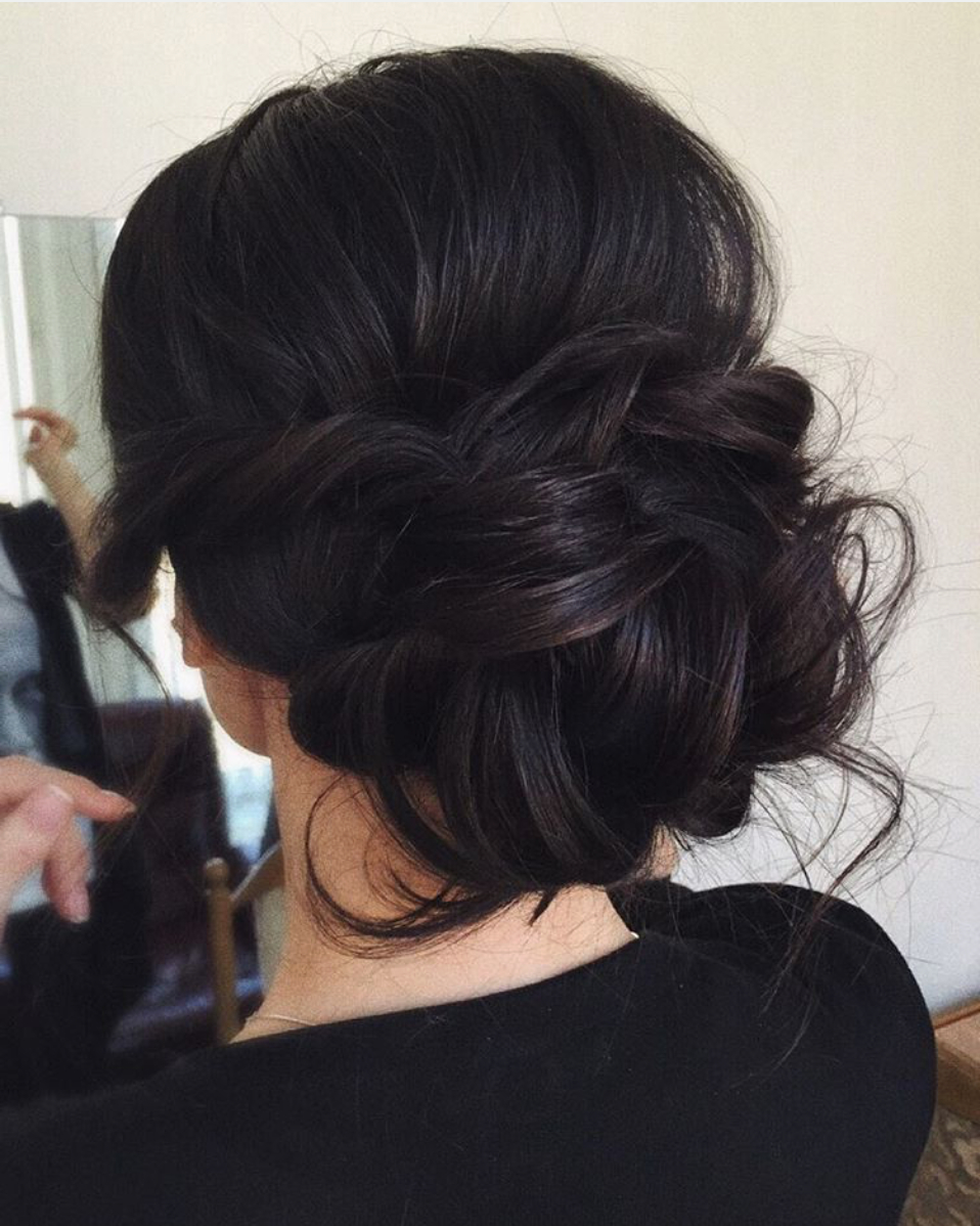 Messy Bridal Updo, Dark Hair (View 9 of 20)