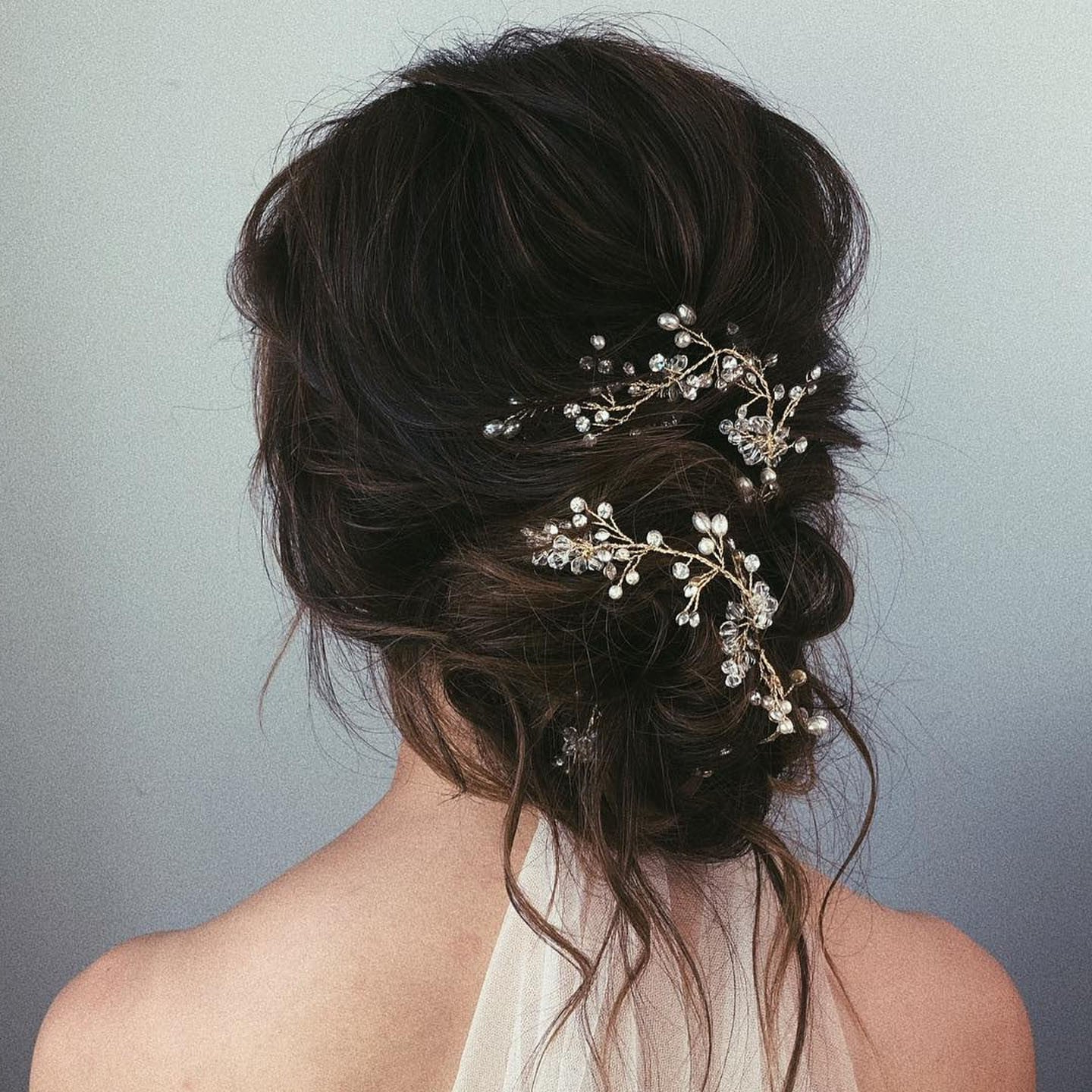 Messy Bun Wedding Hair (View 7 of 20)
