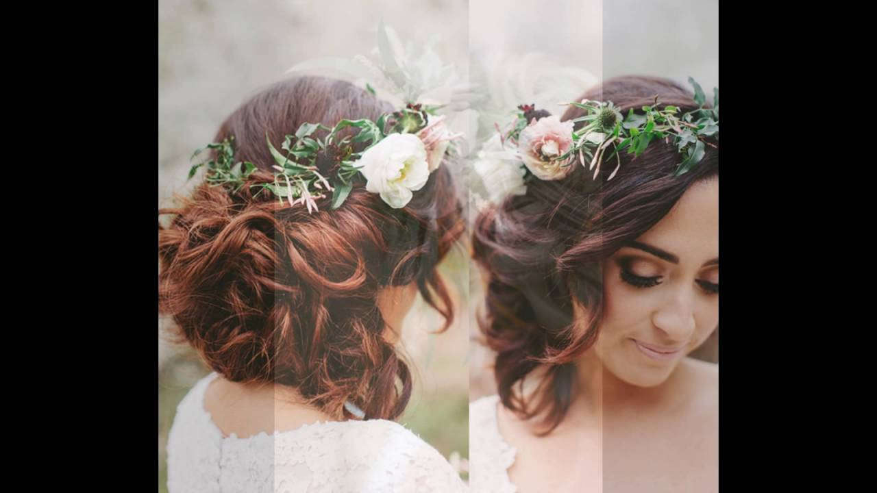Messy Updo With Floral Crown For Brides – Youtube Inside Widely Used Flower Tiara With Short Wavy Hair For Brides (View 10 of 20)