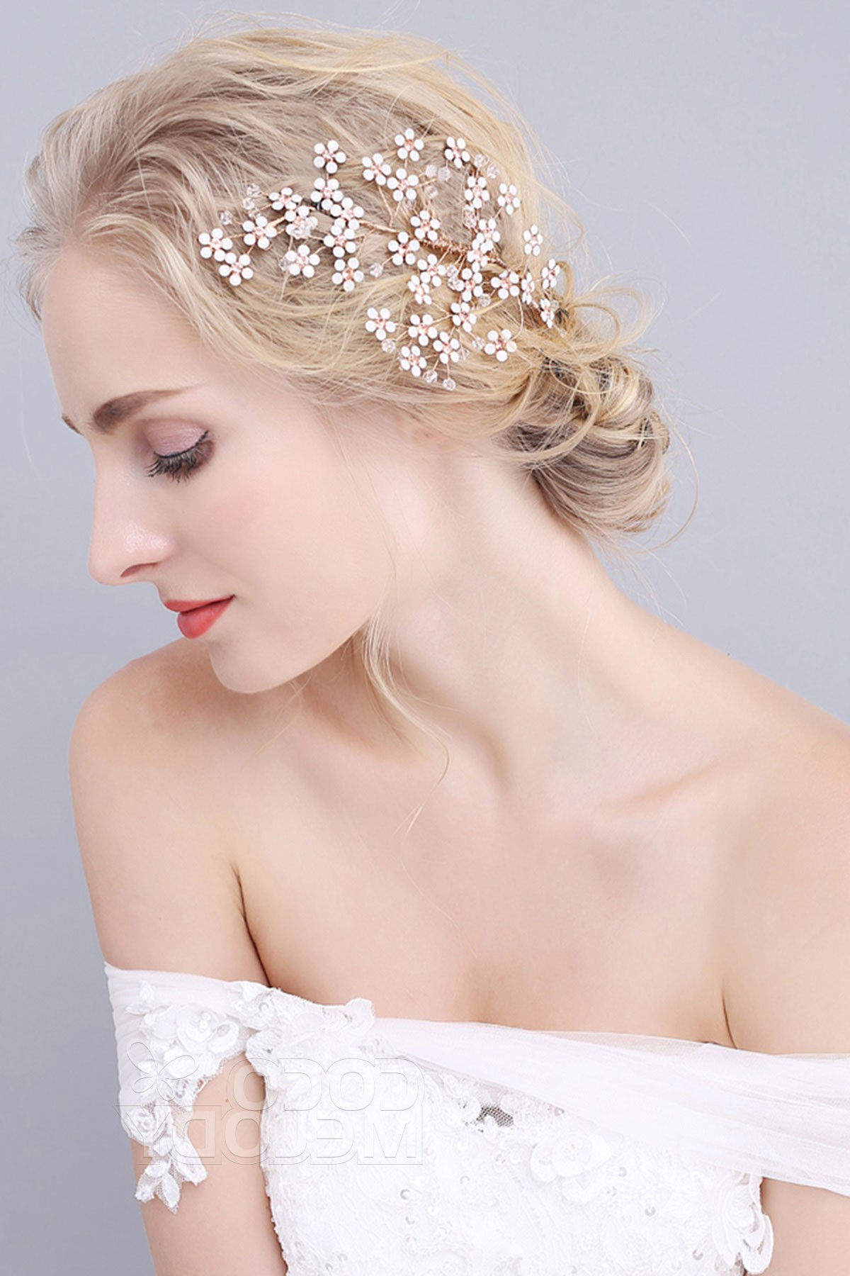 Most Current Bedazzled Chic Hairstyles For Wedding Intended For Alloy Wedding Hair Combs With Rhinestone Crystal Sah (View 13 of 20)