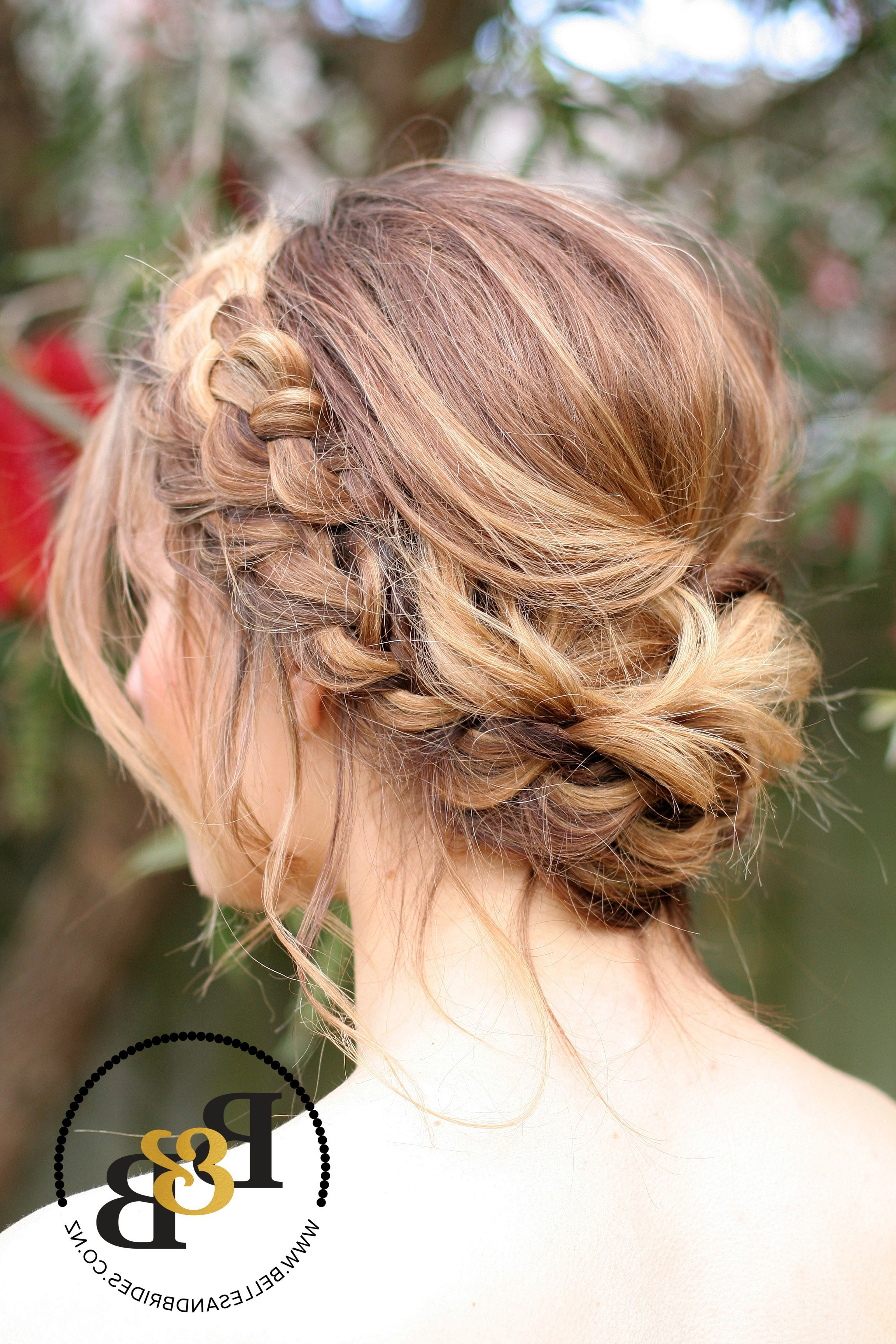 Most Current Braided Wedding Hairstyles With Subtle Waves Regarding Wedding Hair With Braid / Messy Bridal Updo / Bridesmaids Hair (View 13 of 20)
