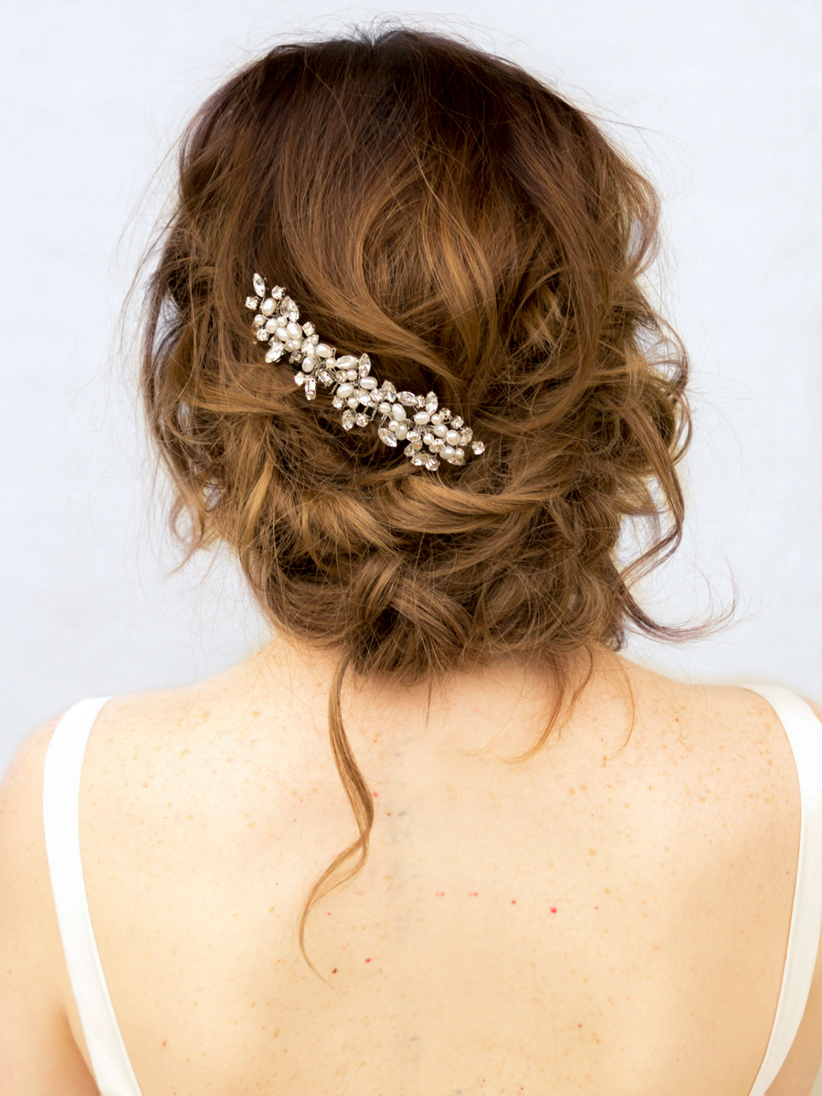 Most Current Curly Wedding Updos With Flower Barrette Ties Pertaining To Top 10 Tips For Choosing Your Bridal Hair Accessories – Hair Comes (View 14 of 20)