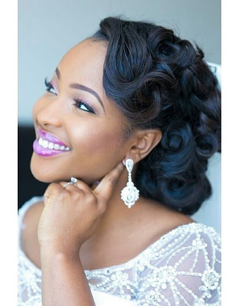 Most Current Pin Up Curl Hairstyles For Bridal Hair With Wedding Hairstyles For Black Women, African American Wedding Haircuts (View 7 of 20)