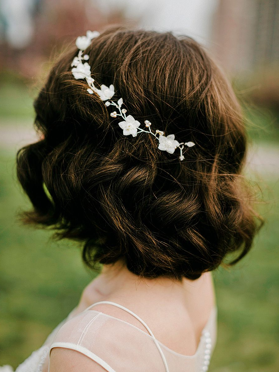 Most Current Short Wedding Hairstyles With Vintage Curls Intended For Short Bob Wedding Hairstyle With A Jeweled Flower Crown (View 8 of 20)