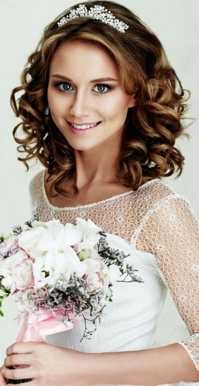 Most Current Side Curls Bridal Hairstyles With Tiara And Lace Veil Within Wedding Hairstyles With Tiara Bridal Tiaras Hairstyle • Updo • Half (View 11 of 20)