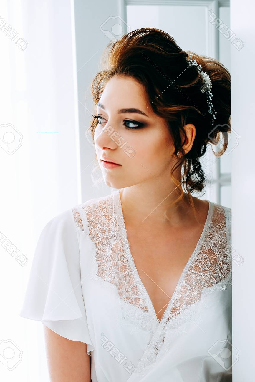 Most Current Tender Bridal Hairstyles With A Veil Within Tender Elegant Young Brunette Bride With Hairdo, Hairpin And. (View 8 of 20)