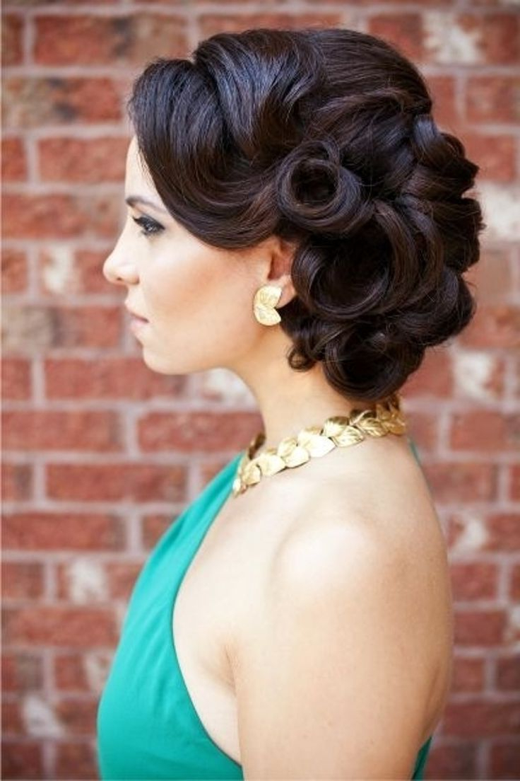 Most Popular Curly Bun Bridal Updos For Shorter Hair Regarding Precious Side Updo For Long Hair – Lahostels (View 13 of 20)