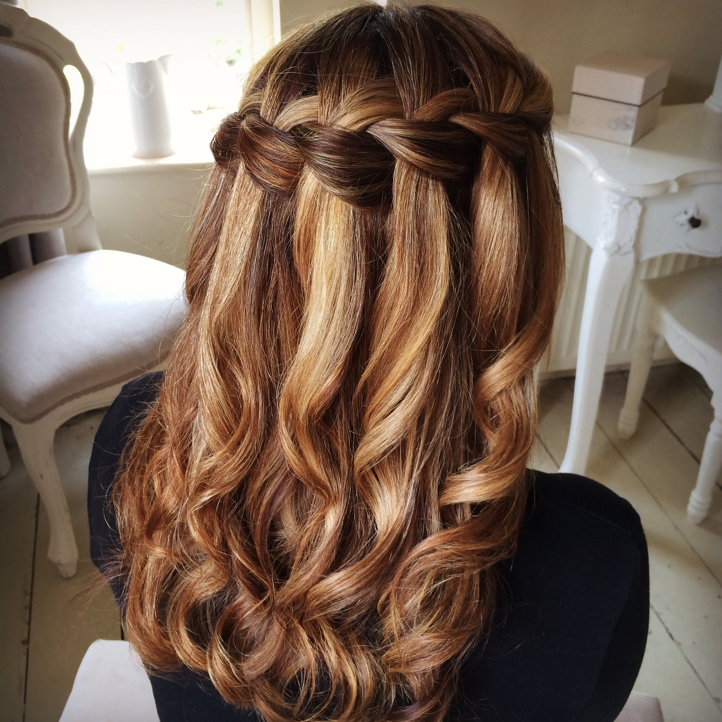 Most Popular Diagonal Waterfall Braid In Half Up Bridal Hairstyles With Waterfall Braidsweethearts Hair Design (View 12 of 20)