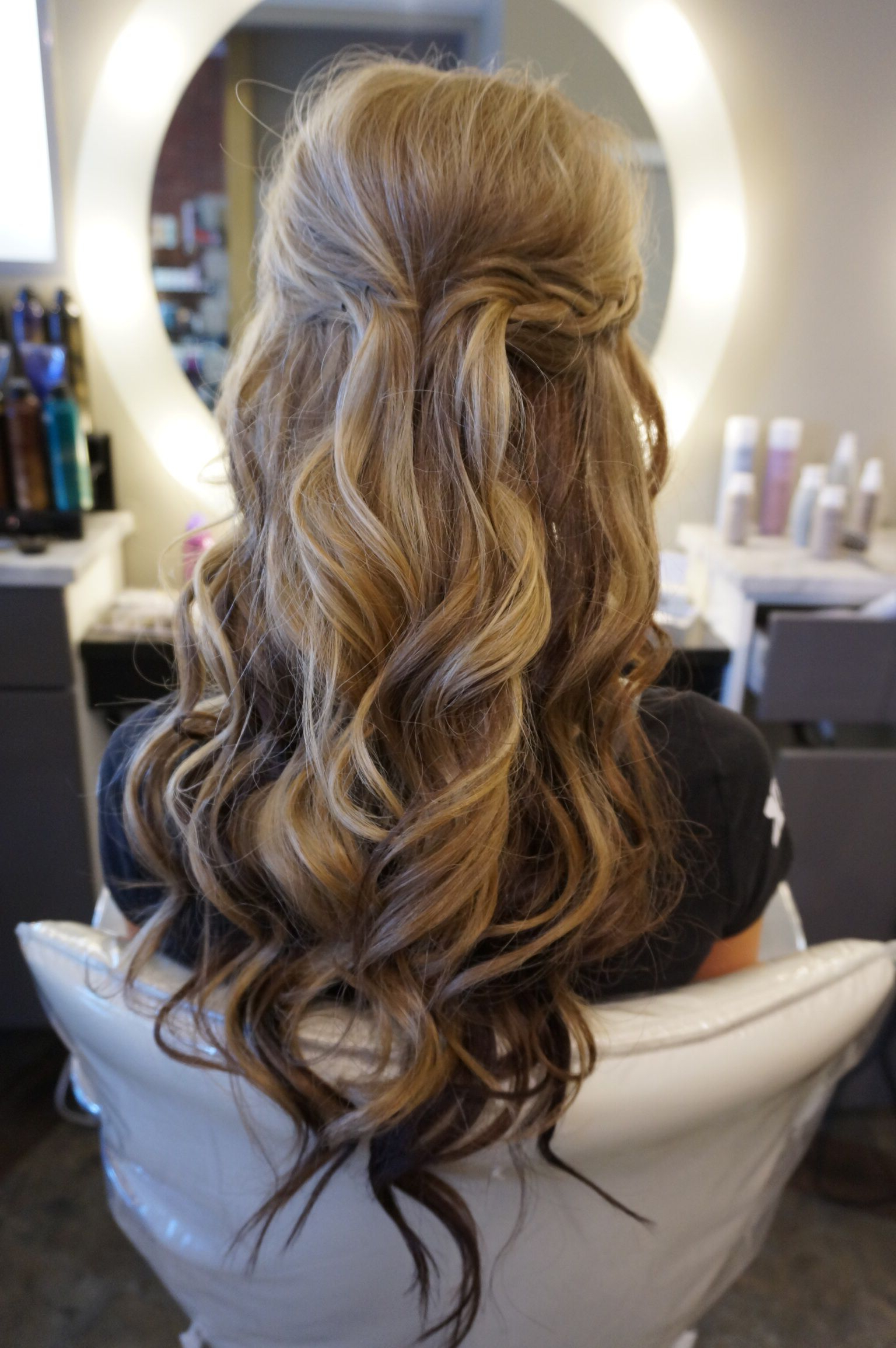 Most Popular Half Up Blonde Ombre Curls Bridal Hairstyles For Long Hair With Loose Curls Perfect Half Up Half Down Style! Follow (View 13 of 20)