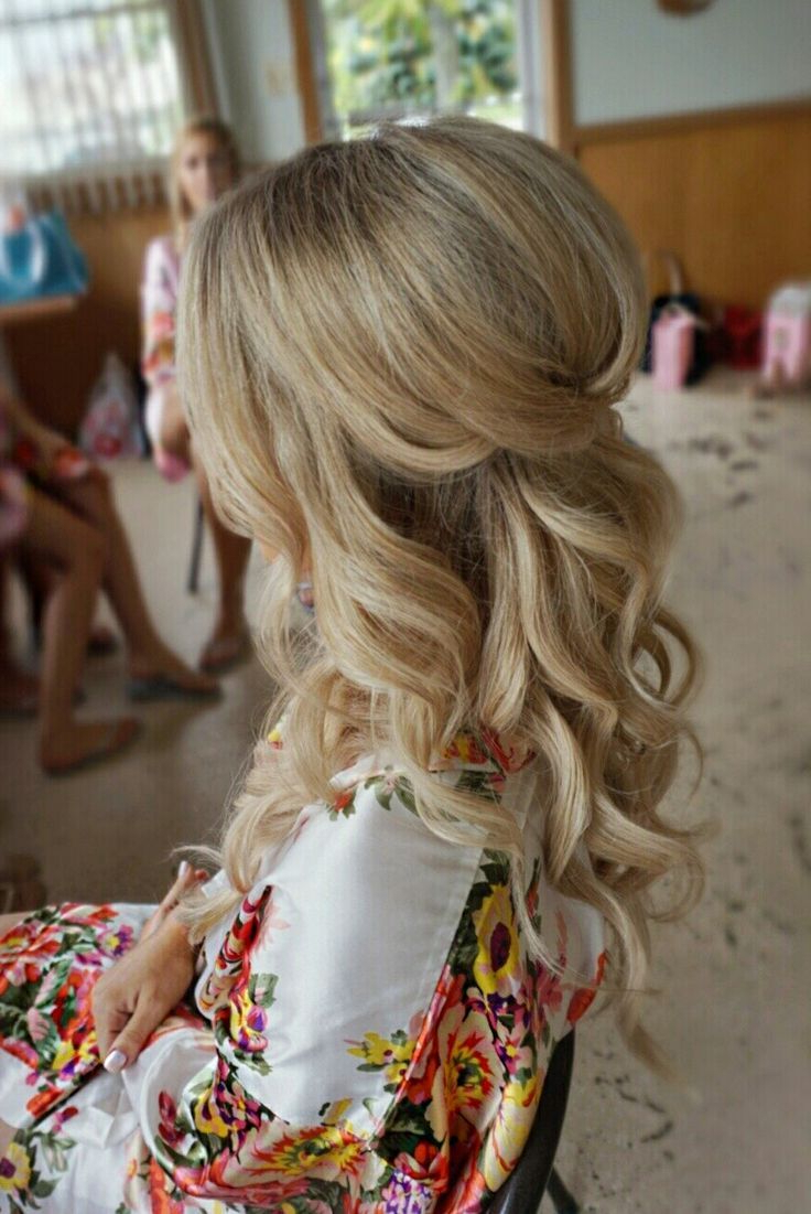 Most Popular Wavy And Wispy Blonde Updo Wedding Hairstyles With Half Up Half Down Curl Hairstyles – Partial Updo Wedding Hairstyles (View 13 of 20)