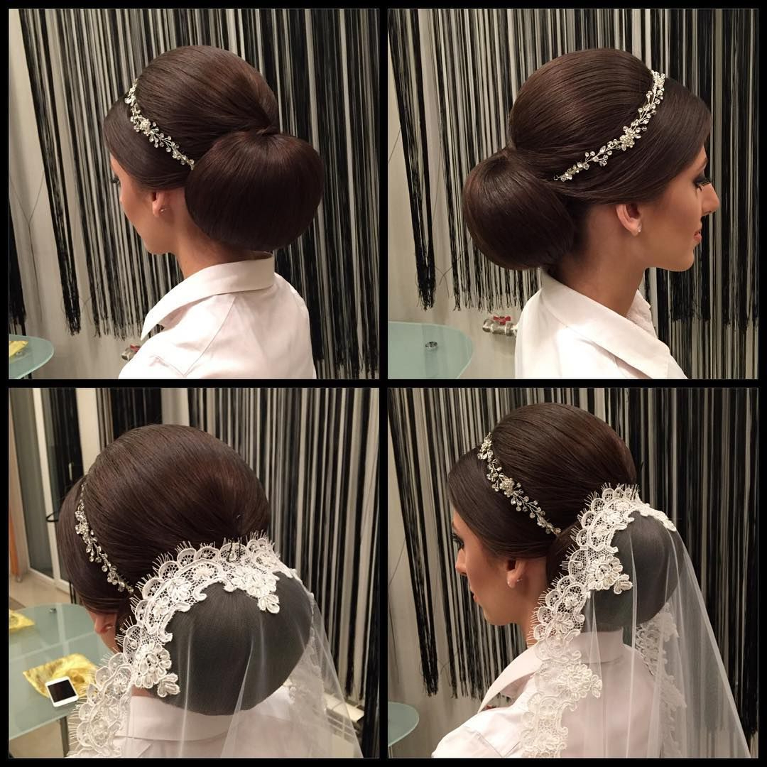 Most Recent Bridal Chignon Hairstyles With Headband And Veil Intended For Formal Hairstyle With Mantilla Veil And Tiara Headband #bridal (View 11 of 20)
