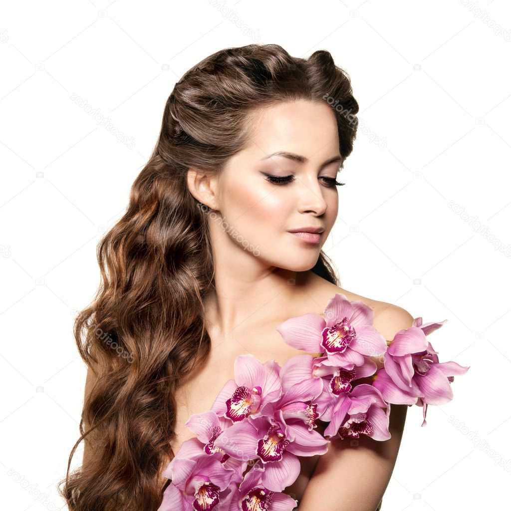 Most Recent Curly Wedding Hairstyles With An Orchid Within Beauty Young Woman, Luxury Long Curly Hair With Orchid Flower (View 8 of 20)