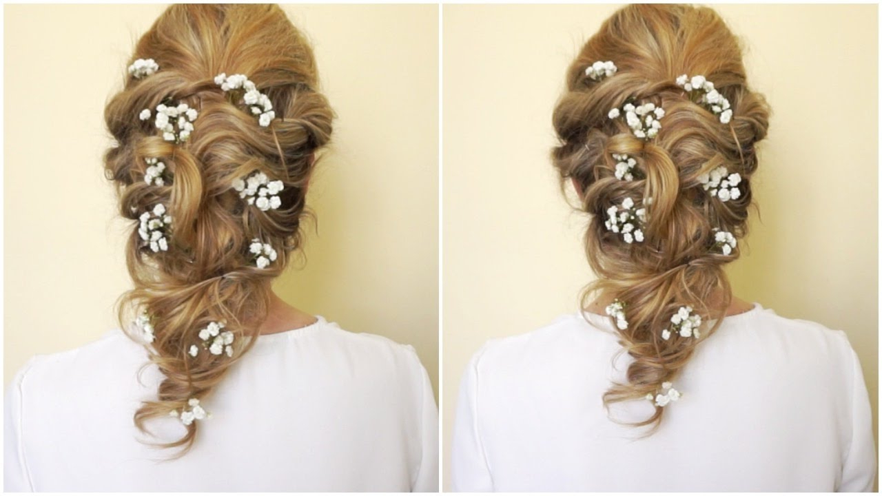 Most Recent French Twist Wedding Updos With Babys Breath Intended For Hairstyles With Baby's Breath – Youtube (View 12 of 20)