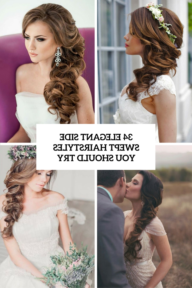 Most Recent Large Curl Updos For Brides With 34 Elegant Side Swept Hairstyles You Should Try – Weddingomania (View 16 of 20)