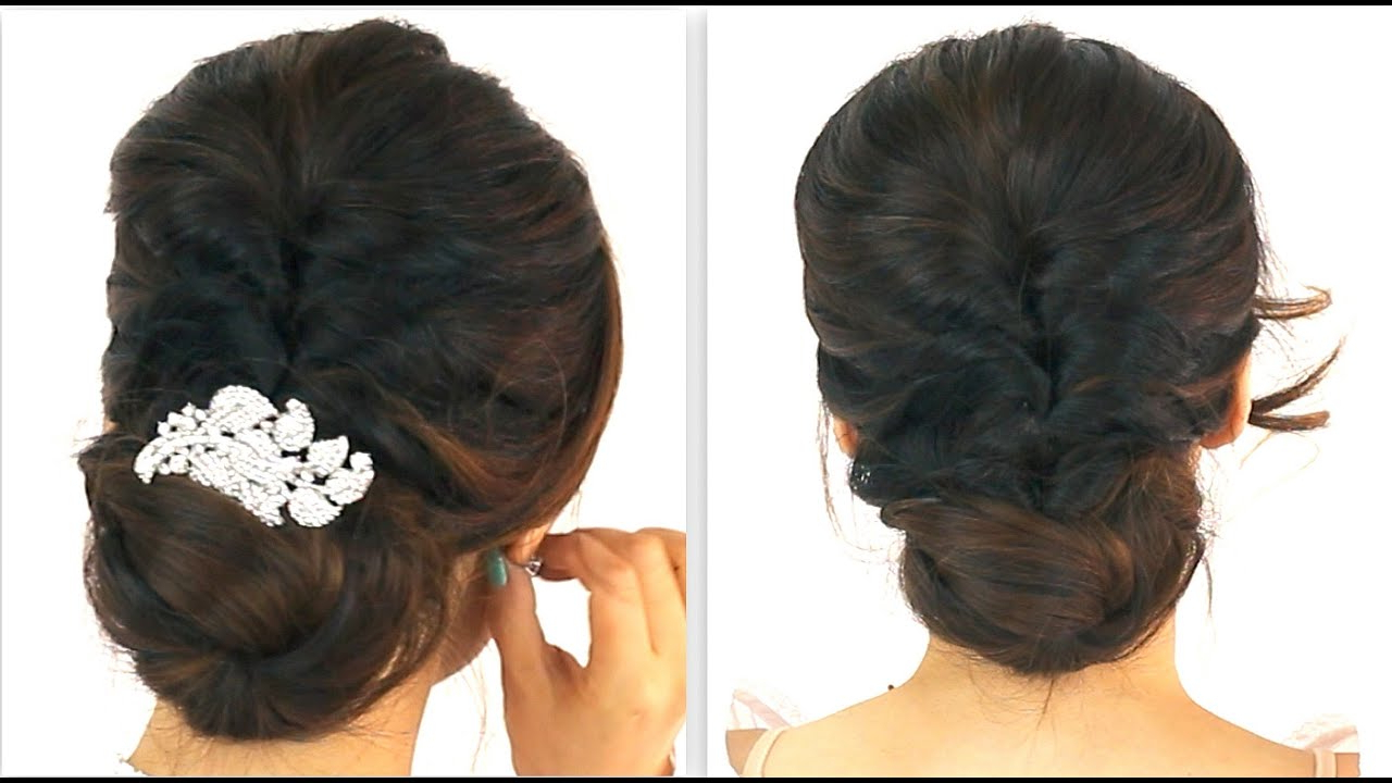 Most Recent Voluminous Chignon Wedding Hairstyles With Twists In ☆ 5Min Easiest Party Updo (View 16 of 20)