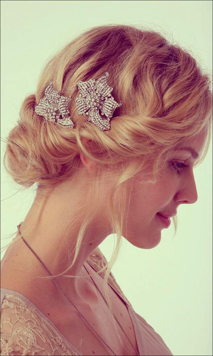 Most Recently Released Messy Bun Wedding Hairstyles For Shorter Hair Regarding Bridal Hairstyles For Medium Hair: 32 Looks Trending This Season (View 18 of 20)