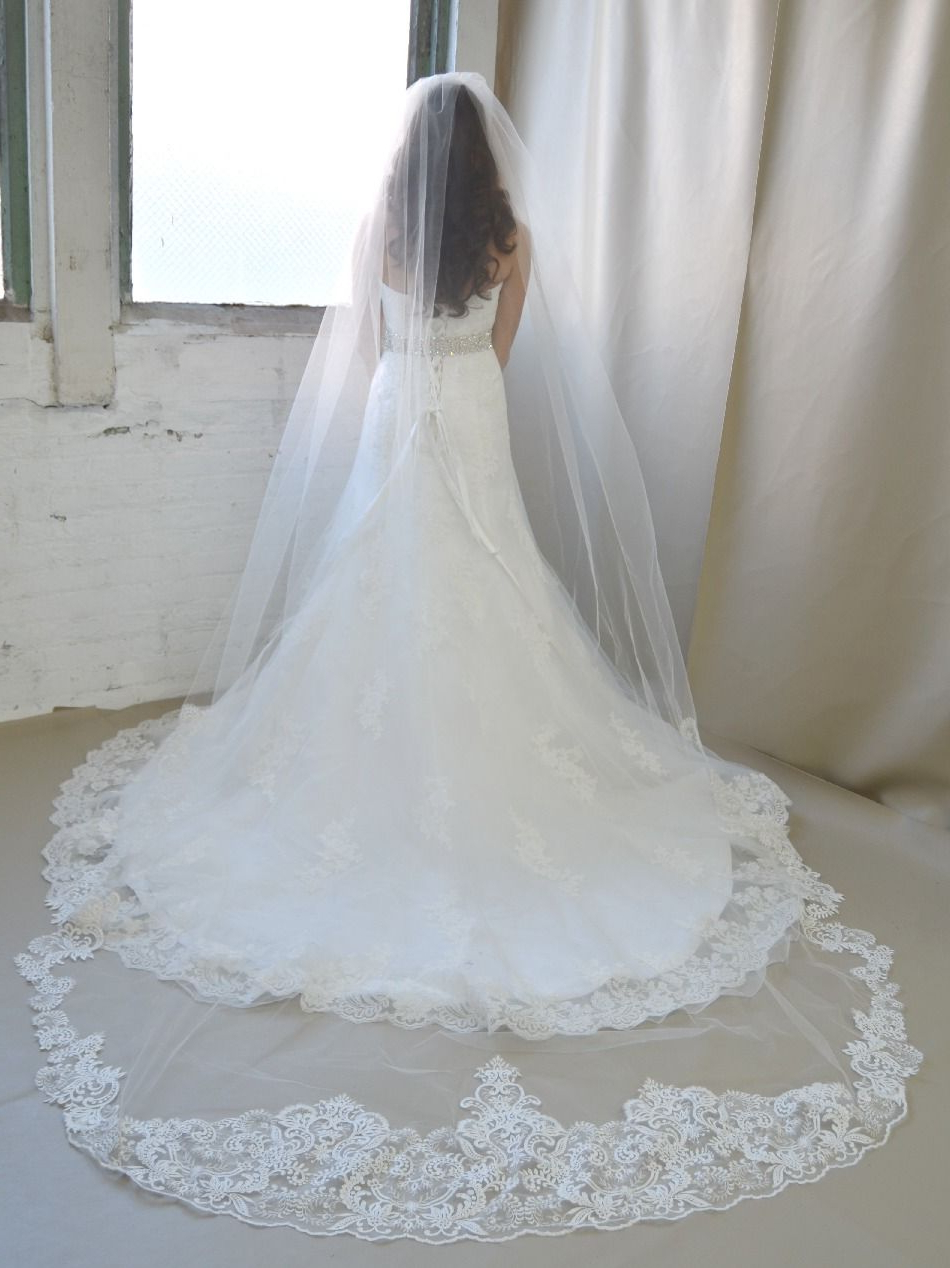 Most Recently Released Wedding Hairstyles With Extra Long Veil With A Train For Royal Cathedral Length Extra Wide Lace Elena Designs Wedding Veil (View 4 of 20)