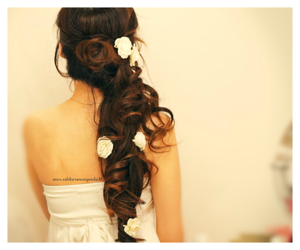 Most Up To Date Fabulous Cascade Of Loose Curls Bridal Hairstyles Throughout Diy Side Swept, Cascading Curls Half Up Updo (View 10 of 20)