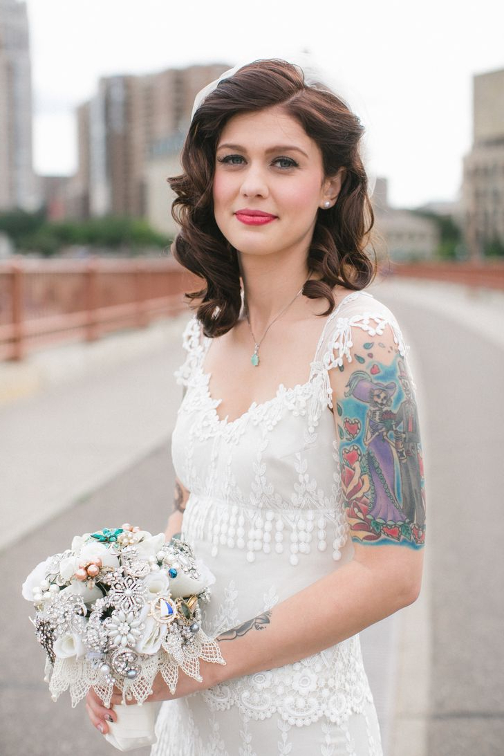 Most Up To Date Pinned Back Tousled Waves Bridal Hairstyles Pertaining To A Little Bit Of Vintage Glamour Is Good (one Side Pinned Back (View 14 of 20)