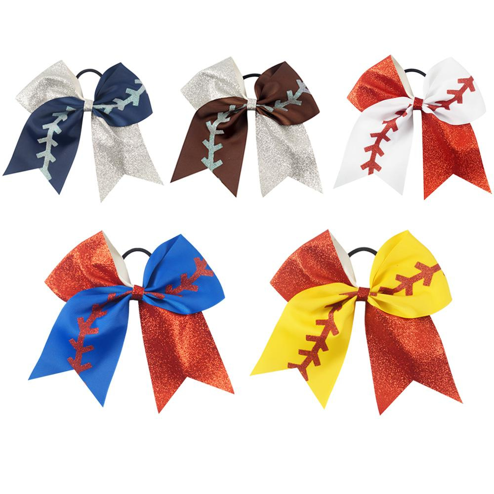 Most Up To Date Ponytail Bridal Hairstyles With Headband And Bow In 7 Large Softball Team Baseball Cheer Bows Handmade Glitter Ribbon (View 17 of 20)