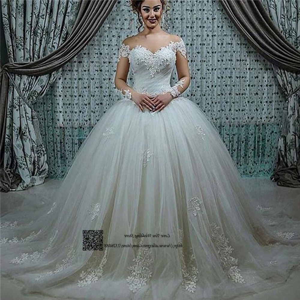 Most Up To Date Sleek And Big Princess Ball Gown Updos For Brides With Princess Long Sleeve Lace Wedding Dresses Puffy Ball Gown Bride (View 7 of 20)